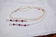 Lariat Style Necklace Freshwater Pearl Purple Made with Swarovski Crystal Beads