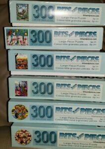 Lot of Six (6) Used Jigsaw Puzzles, Bits & Pieces 300 Large Pieces (2 Shaped)