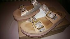 MULES REGLABLES FANTASY SANDALS COMPENSEES CUIR DORE STRASS POINTURE 40