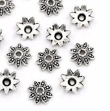 """20 Silver FLOWER BEAD CAPS 5/16"""" (8mm) Findings (25874) Fits 10-12mm beads"""