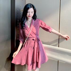 Women V Neck Belt Short Sleeve Layered Ruffle Printed Chiffon Casual Party Dress