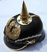 Pickelhaube Helmet LEATHER Helmet Brass Spiked German WWI Officer Leather Helmet