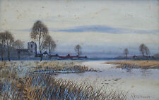 F.G. FRASER - Cambridge River View - Watercolor - Framed - U.K. - 19th Century