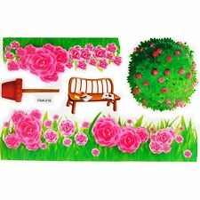 WALL ART DECAL STICKER WALL DECORATIONS PINK GARDEN 3D EFFECT 33CM x 17CM