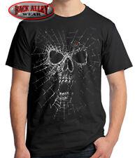 Black Widow Skull T-Shirt Biker Tee ~ Liquid Spider Web ~ Evil
