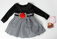 NWT girls 24 mo Youngland Black White w/ red Flower Christmas holiday dress CUTE