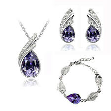 Purple Elegant Jewellery Set Crystal Studs Earrings, Bracelet & Necklace S265