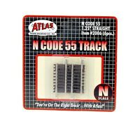 """Atlas 2006 N Scale Code 55 1 1/4"""" Straight Track 6 pack New Free Shipping"""