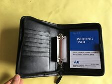 A6 Zipped Ring Binder in PU Leather Black colour with 2 Rings 22mm dia. (9984)