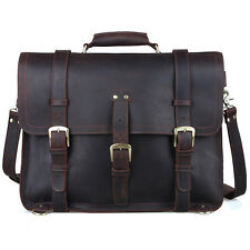 """hommes grand cuir sac à dos 17 """"Laptop Bag messager Sac à bandoulière Voyage"""
