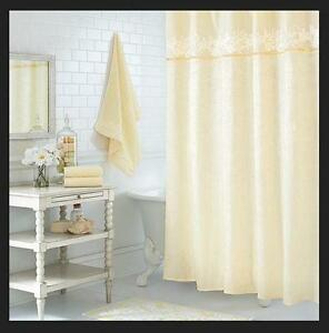 One Home Luxe Scroll Embroidered & Crinkled Texture Fabric Shower Curtain CREAM