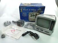 "Vintage Spectra 5"" Portable Black & White TV With AM/FM Radio 58-MBWR"