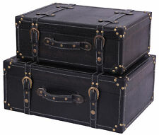New Vintiquewise(TM) Antique Style Black Leather Suitcase with Straps,QI07231BL