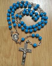 CHAPELET vintage PERLES BLEUES croix vierge
