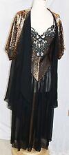 Vintage peignoir robe nightgown set M medium Blanche black metallic copper sheer