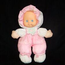 "Fisher Price Puffalump Kids Merri Pink White Doll Rubber Face Plush Stuffed 13"""