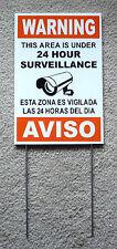 Security Video Surveillance Warning  24 Hr  Sign 8x12 Spanish English w/Stake 0