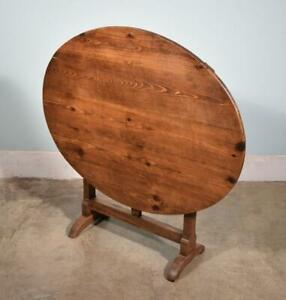 *Antique French Solid Oak and Pine Wine Tasting Table with Tilt Top