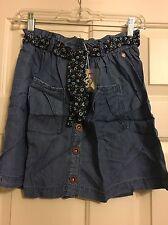 NWT Matilda Jane girls/tween size 12 Oceanside Skirt denim blue w/buttons