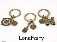 Vintage Bronze Personalised Initial Letter Charm Keyring *Buy 2 get 1 free*