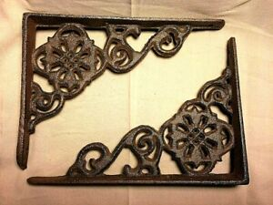 "SET of 2 ANTIQUE BRONZE VICTORIAN FLORAL STYLE cast iron brace bracket corbel 6"""