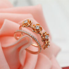 925 Rose Gold Plated Women/Men New Fashion Ring Gift Size Open H31