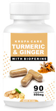 TURMERIC CURCUMIN with GINGER & BIOPERINE  (500 mg) 90 Count By KRUPACARE