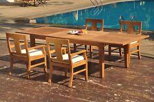 "5pc Grade-A Teak Dining Set 122"" Caranas Rectangle Table 4 Osborne Arm Chair"