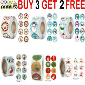 500x Merry Christmas Clear Happy Xmas Labels Stickers Gift Craft Box Stickqq