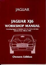 Jaguar Xj6 Shop Manual Service Repair Workshop Book Owner'S Edition 1986-1994