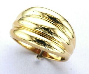 9ct Yellow Gold Hallmarked Plain Triple Bombay Domed Dress Ring