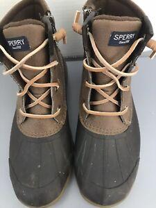women's Sperry Waterproof rain/snow Protection Booties-Brown -Size 5