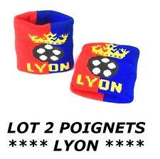 2 BRACELETS LYON serre poignet éponge drapeau sport football jogging tennis ...