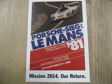 PORSCHE Postkarte Mission 2014 Our Return Nr. 9 SR318