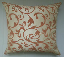 "CREAM & BROWN SUEDE 18"" X 18"" CUSHION COVER FLORAL FAUX SILK FABRIC FREE P&P !!!"
