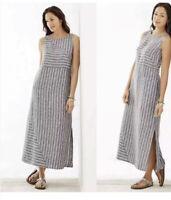 J. Jill Love Linen Gray Striped Sleeveless Maxi Dress Womens Size XS