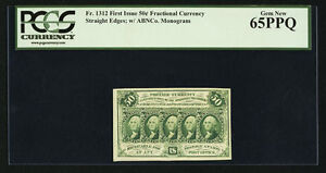 """1862-63 50 CENTS FRACTIONAL CURRENCY, FR-1312, CERTIFIED PCGS """"GEM NEW-65-PPQ"""""""