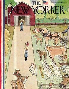 1942 New Yorker Cover August 1 - The Farm gets ready for a war - Rea Irvin