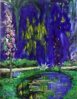 """Monet's Pond at Giverny Painting Impressionism signed """"Robert"""" COA"""