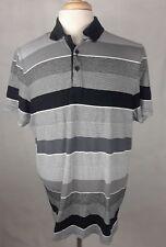 Alfani Regular Fit Black & Gray Stripe Polo Shirt Men Size Large 100% Cotton