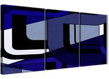 3 PEZZI Indigo Blu Navy Pittura Cucina Arredamento in Tela-ASTRATTO 3411 - 126 cm