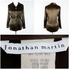 Jonathan Martin UK 14 Chocolate Brown Satin Blouse 70's Vibe Fitted Long Sleeve