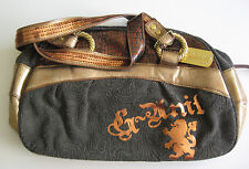 VINTAGE G-UNIT BROWN BROCADE GOLD COPPER EMBELLISHED RHINESTONE TAG PURSE BAG