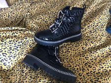 Zara Size 6 Black Biker Boots Buckle Chunky Dr Martin Style. Patent