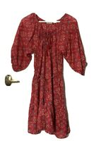 Country Road 6 red boho/peasant dress with 3/4 sleeves and frilled hem & pockets