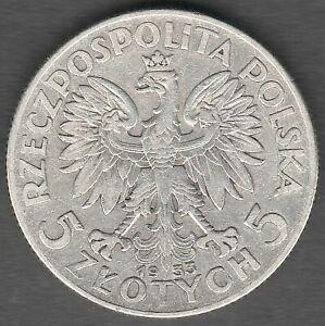 Poland 5 Zlotych 1933  Queen Judwiga , High Grade UNC ?? ,  Silver coin (0321)