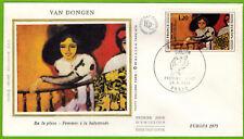 1975-Enveloppe Soie 1°Jour** Femme à la - Van Dongen---Obl.Paris.Europa.Yv.1841