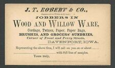 Ca 1875 PC DAVENPORT IA UNPOSTED SALESMANS CALLING CARD FOR WOOD & WILLOWARE