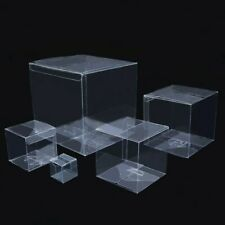 10x Clear PVC Plastic Wedding Favour Sweet Cake Gift Candy Box Cube Bag Kit Case