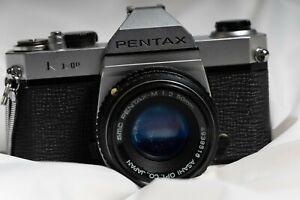 Pentax K1000 film camera, 50mm 2.8 Lens, flash plus 80-200 lens and bag